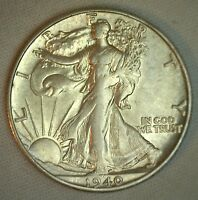 1940 S WALKING LIBERTY HALF DOLLAR 50 CENTS WALKER SILVER COIN UNC 50C