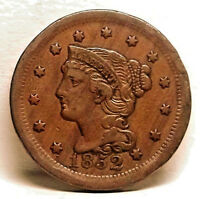 1852 BRAIDED HAIR LARGE CENT   NICE COIN   NATURAL COLOR   WOOD GRAIN