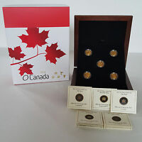 2013 1/10 OZ GOLD COINS O CANADA 5 COIN SET  TOTAL 1/2 OZ PURE GOLD