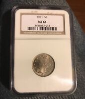 CERTIFIED 1911 LIBERTY NICKEL , NGC MINT STATE 64