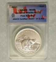 2011 ANACS MINT STATE 69 CANADA GRIZZLY BEAR 1OZ .9999 FINE SILVER $5 COIN, 247 OF 2493