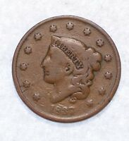 1837 CORONET HEAD MEDIUM LETTERS LARGE CENT  GOOD 1C