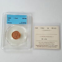 CERTIFIED ICCS 1962 CANADIAN 1 CENT COIN RED MS 65