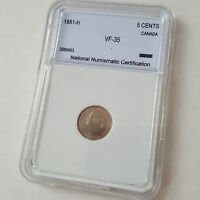 GRADED NNC 1881 H 5 CENT COIN   CANADA VF 35