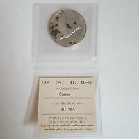 CERTIFIED ICCS 1967 $1 CANADIAN DOLLAR CAMEO PL 65