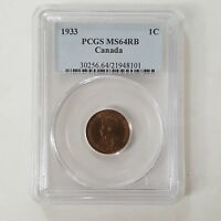 CERTIFIED PCGS 1933 CANADIAN 1 CENT COIN MS 64 RB