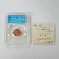 CERTIFIED ICCS 1951 CANADIAN 1 CENT COIN RED MS 65