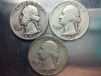 LOT OF 3 1950 WASHINGTON SILVER QUARTERS YOU GET WHAT YOU SEE RPMS