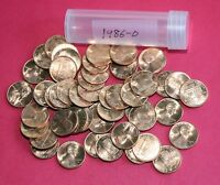 1986 D LINCOLN MEMORIAL CENT PENNIES   FROM OBW ROLL  50 COINS    B/U