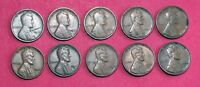 10 LINCOLN WHEAT CENTS WITH OBVERSE LAMINATION ERRORS   1917 1954 LOT