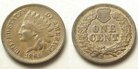 CHOICE EXTRA FINE /AU 1865 INDIAN HEAD CENT-FANCY 5 VARIETY SHIPS FREE