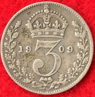 GREAT BRITAIN   3 PENCE   1909   92.5  SILVER   0.0420 ASW