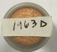 1963 D 1C LINCOLN CENT ROLL UNCIRCULATED
