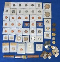 JUNK DRAWER COIN LOT WITH B/U WHEAT PENNIES SILVER STEEL ROLLS ERROR MORE