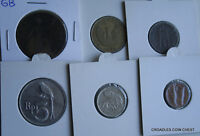 6 X MIXED WORLD COIN'S GENERAL MIX MODERN WORLD IN 2X2 HOLDERS VRY20