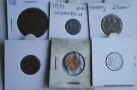 6 X MIXED WORLD COIN'S GENERAL MIX MODERN WORLD IN 2X2 HOLDERS BES50