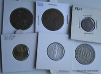 6 X MIXED WORLD COIN'S GENERAL MIX MODERN WORLD IN 2X2 HOLDERS DBO50