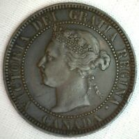 1893 COPPER CANADIAN LARGE CENT COIN 1 CENT CANADA XF 2