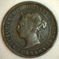 1893 COPPER CANADIAN LARGE CENT COIN 1 CENT CANADA FINE 6