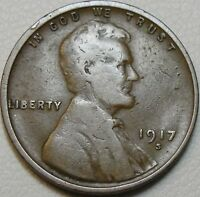 1917 S 1C LINCOLN CENT WHEAT PENNY LWC COPPER 9037
