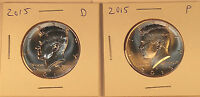 2015 P & D KENNEDY HALF DOLLARS  BU CONDITION   1 PAIR FRESH FROM US MINT ROLLS