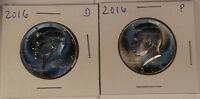 2016 P & D KENNEDY HALF DOLLARS  BU CONDITION   1 PAIR FRESH FROM US MINT ROLLS