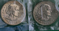 1979 P AND D SUSAN B ANTHONY DOLLAR BU COINS FRM MINT SET CELLOS  TWO SBA $1