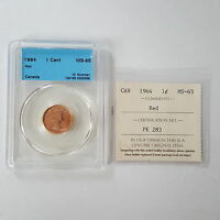 CERTIFIED ICCS 1964 CANADIAN 1 CENT COIN  RED  MS 65