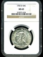 1943-D 50C WALKING LIBERTY HALF DOLLAR MINT STATE 65 NGC