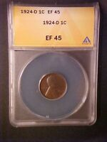 1924-D LINCOLN WHEAT CENT  - ANACS EXTRA FINE 45 - KEY DATE - WW463SXXX1