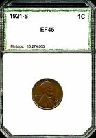 1921-S 1C LINCOLN WHEAT CENT IN CHOICE EXTRA FINE CONDITION