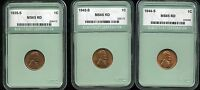 1935-S 1942-S 1944-S 1C LINCOLN WHEAT CENTS GEM BU CONDITION LOT OF 3