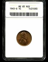 1945-S 1C LINCOLN WHEAT CENT MINT STATE 65 RED ANACS 1431093