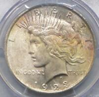 1923 PCGS MINT STATE 64 PEACE SILVER DOLLAR, MINT STATE 64 SILVER $1 COIN,  OBV COLOR TONE