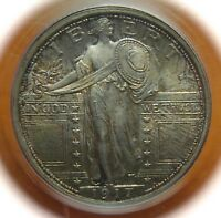 1917 STANDING LIBERTY SILVER QUARTER - COLOR - PCGS MINT STATE 65 FH