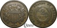 1866 2C TWO CENT BRONZE PIECE  GRADE  OLD TYPE COIN MONEY