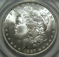 1887-O ANACS MINT STATE 63 MORGAN DOLLAR, SUPER EYE APPEAL, SHIPS FREE