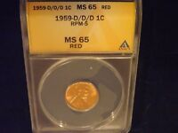 1959   1C       D/D/D               ANACS   MINT STATE 65 RED