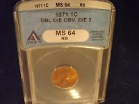1971  1C       DDO               ANACS   MINT STATE 64  RB