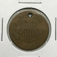 1864 2C TWO CENT PIECE: HOLED