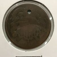 1867 2C TWO CENT PIECE: HOLED