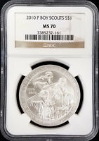 2010 P UNCIRCULATED BOY SCOUTS COMMEMORATIVE SILVER DOLLAR GRADED MS 70 BY NGC