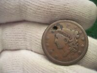 1838 LARGE CENT OLD US TYPE COIN HOLED FOR SUSPENSION