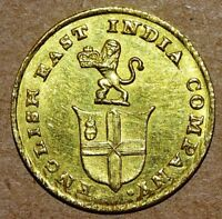 EAST INDIA COMPANY MADRAS PRESIDENCY 5 RUPEES AD 1820 GOLD