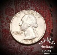 90  SILVER  1960 D WASHINGTON QUARTER  IN CIRCULATED CONDITION US COIN.