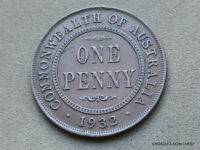 1932 PENNY NICE CIRCULATED 6 PEARLS  AUSTRALIA BRONZE COIN CPE30
