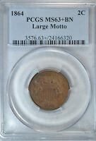 1864 2 CENT, PCGS MINT STATE 63 BN