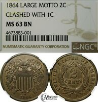 1864 2C TWO CENT PIECE NGC MINT STATE 63 REVERSE CLASHED W/ INDIAN HEAD PENNY  COIN