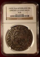 1693 NETHERLANDS 28S UTRECHT C/S COUNTER STAMP NGC CERTIFIED