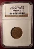 1849 $5 CALIFORNIA COUNTER TOKEN GOLD PANNER CERTIFIED NGC AU 58